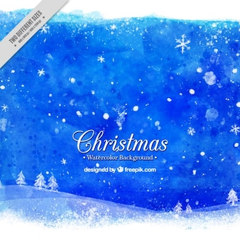 Christmas background of watercolor landscape