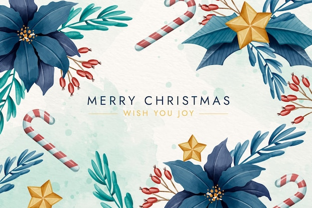 Christmas background in watercolor with flowers