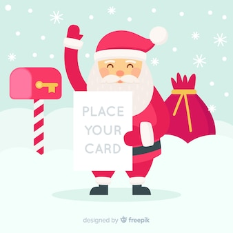Christmas background waving santa