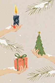 크리스마스 배경, 겨울 휴가 시즌 벡터