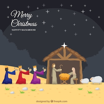 Christmas background of the wise men in the nativity scene