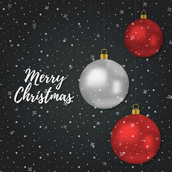 Christmas background with 3d realistic red silver balls