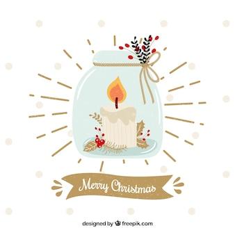 瓶の中にろうそくを置くクリスマスの背景