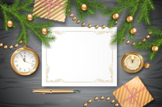 Новогодний фон с часами, еловыми ветками, подарками и чистым листом бумаги