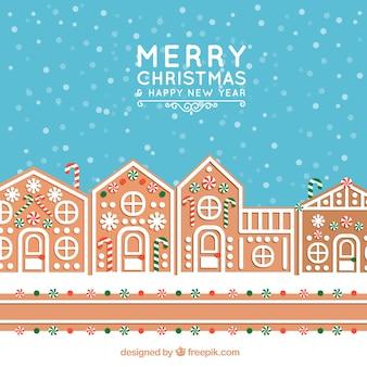 진저 브레드 하우스와 함께 크리스마스 배경
