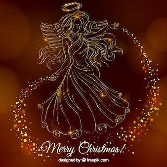 ゴールデンエンジェルとクリスマスの背景