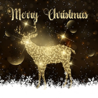 Christmas background with a golden reindeer