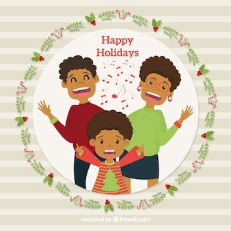 Рождественский фон с счастливой семьей