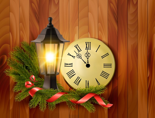 Новогодний фон с фонарем и часами.