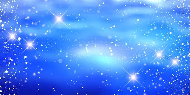 Новогодний фон с дизайном снежинок и звезд