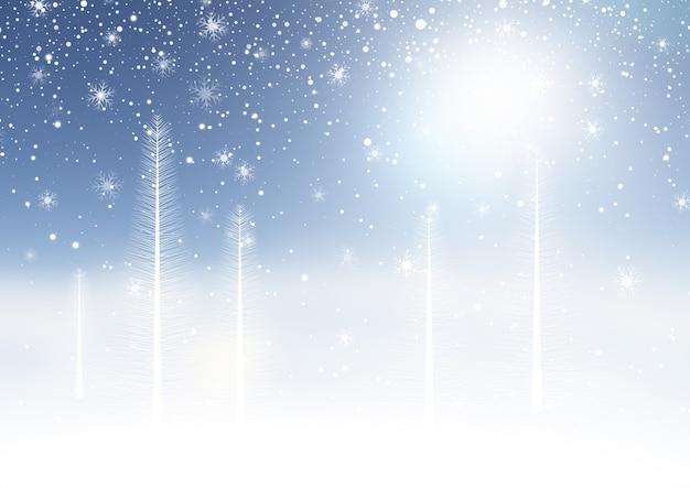 Новогодний фон с зимним снежным пейзажем
