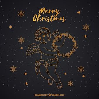 검은 황금에 천사와 함께 크리스마스 배경