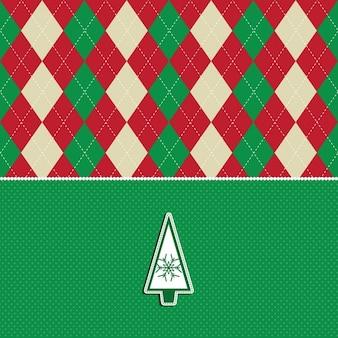 アーガイル柄と木のデザインのクリスマスの背景