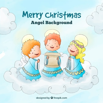 Christmas background with angels singing a carol