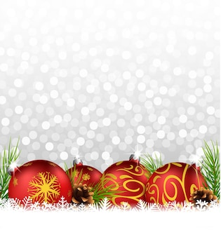 Christmas background with ball and fir in snow