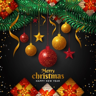 Christmas background with ball and glowing light