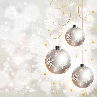 Christmas background with ball and stars