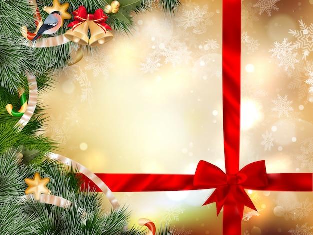 Рождественский фон с безделушками.