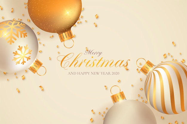 Christmas background with beige and golden decoration