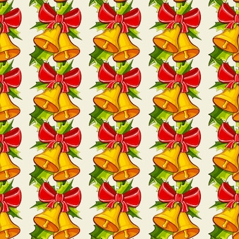 Christmas background with bells.  seamless pattern.