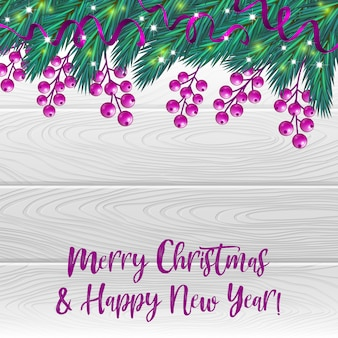 Christmas background with berries and fir tree