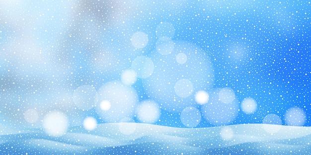 吹雪と雪片、ボケ効果、ベクトルバナーとクリスマスの背景