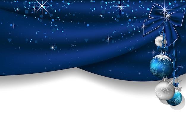 Новогодний фон с синими шторами и висящими рождественскими украшениями с падающим конфетти и синим бантом - праздничная иллюстрация, вектор