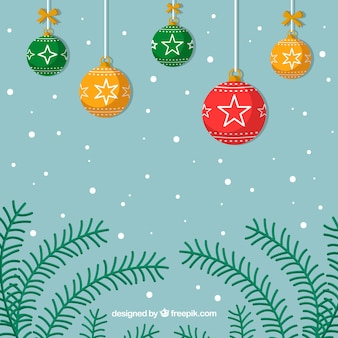 Christmas background with branches and colorful balls