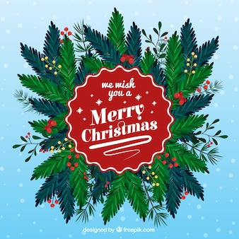 Christmas background with branches and leaves
