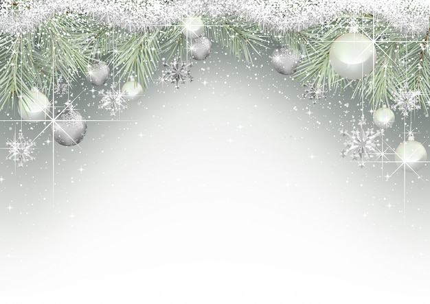 Christmas background with branches and ornaments