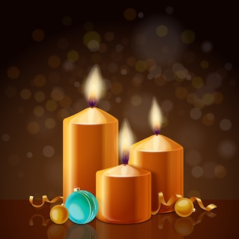 キャンドルをテーマにしたクリスマスの背景