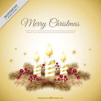Рождественская открытка со свечами