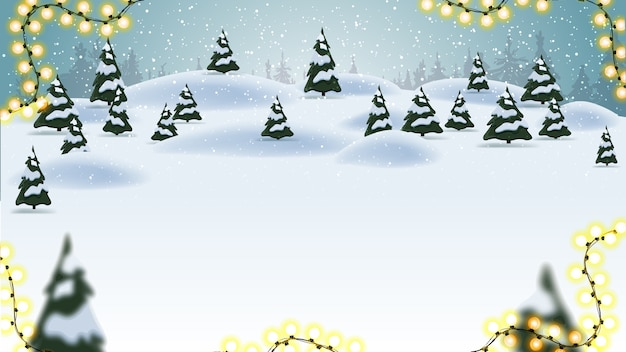 Christmas background with cartoon landscape