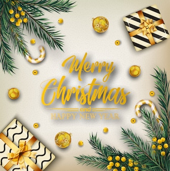Christmas background with christmas elements