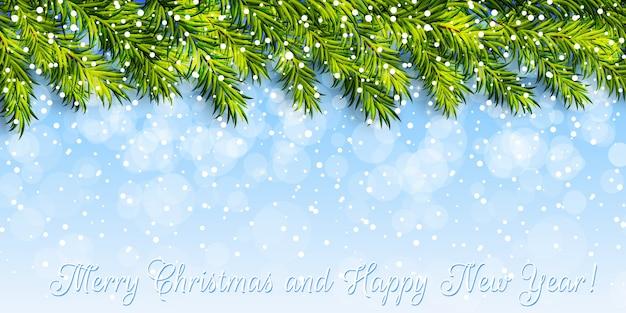 Новогодний фон с ветками елки и снегом