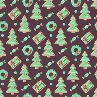 Новогодний фон с елкой, пончик, подарочная коробка, конфеты