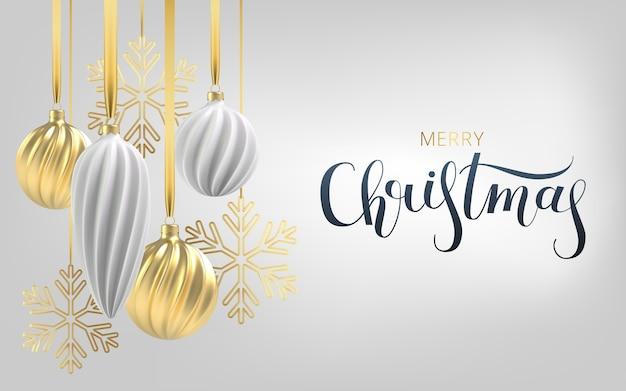 Новогодний фон с елочными игрушками белого и золотого цвета, спиральными шарами и снежинками