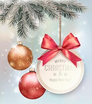 다채로운 공 및 선물 카드 크리스마스 배경입니다. 벡터 일러스트 레이 션.