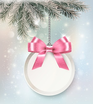 Christmas background with colorful balls and gift card