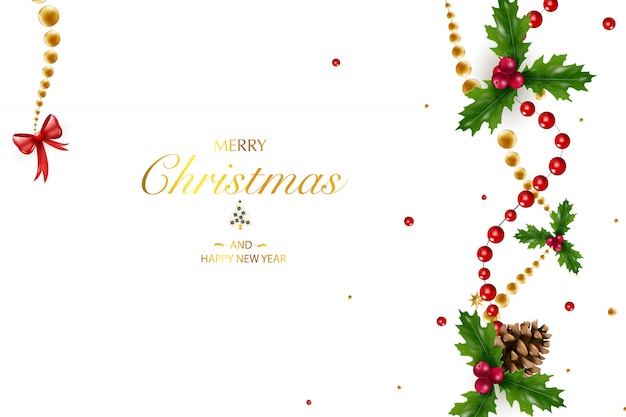 Christmas background with a composition of festive elements such as gold star, berries, decorations for the christmas tree, pine branches. chic christmas background. merry christmas and happy new year.