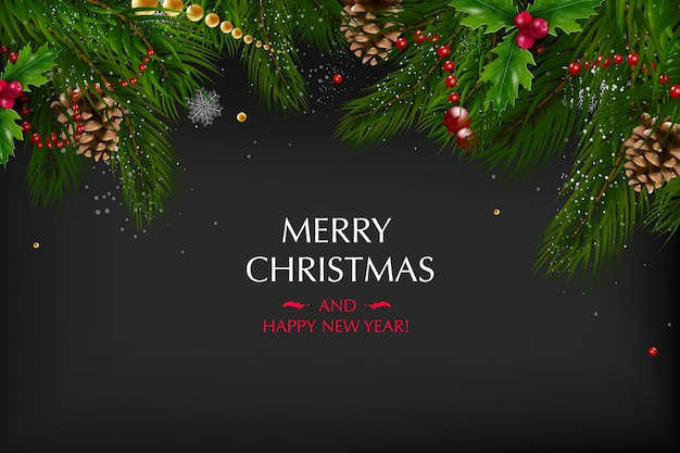 Christmas background with a composition of festive elements such as gold star, berries, decorations for the christmas tree, pine branches. merry christmas and happy new year.