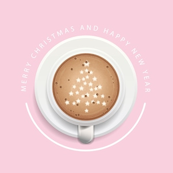 Christmas background with a cup of coffee
