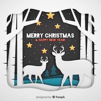 Christmas background with cut-out reindeers