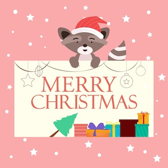 Christmas background with cute animal