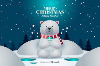 Christmas background with cute polar bear