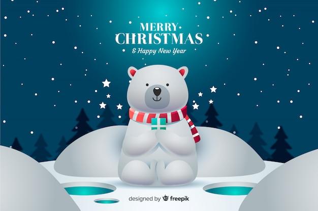 Christmas background with cute polar bear