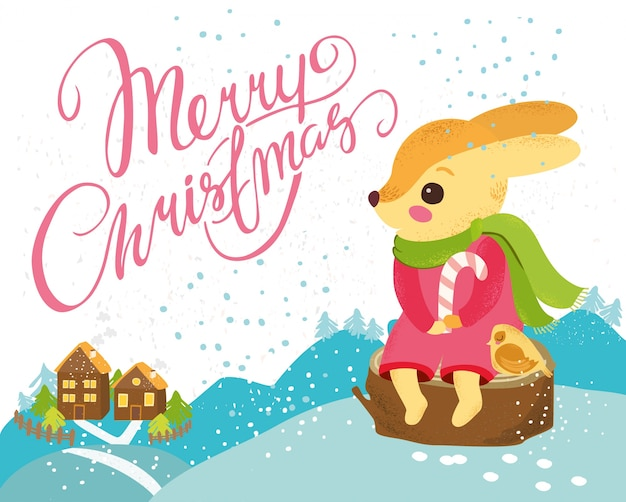Christmas background with cute rabbit