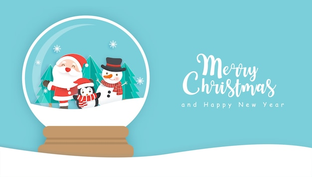 Christmas background with cute santa clause and friend in a snow globe with copy space.