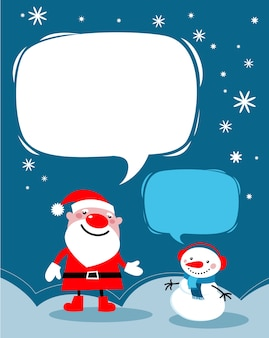 Christmas background with cute santa and a snowman - template for poster, banner or greeting card