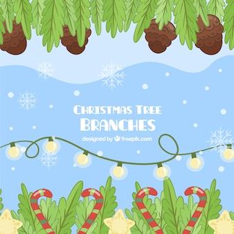 Рождественский фон с украшением и листьями